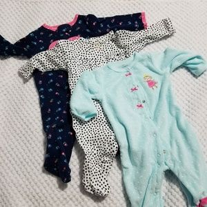 Carters Baby Girl Sleepers One Pieces 3months